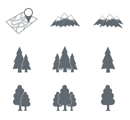 Map with muntain and forest icons set. Vector concept illustration for design