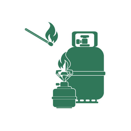 propane: Camping stove with gas bottle icon vector. Vector illustration. Illustration