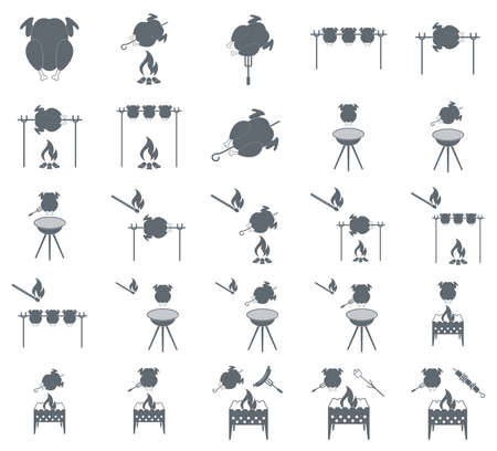 grilled: Set of grilled chicken icon. Vector illustration
