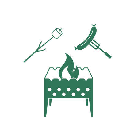 zephyr: Brazier, zephyr and sausage icon. Vector illustration