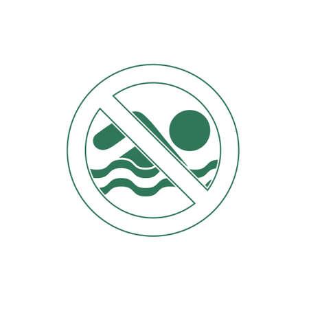 prohibition: Aucune interdiction de baignade signe icône. Vector illustration