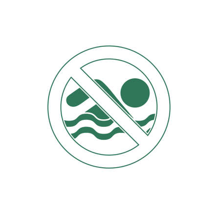 no swimming: No swimming prohibition sign icon. Vector illustration