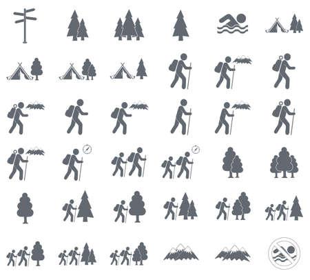 Set of Hiking tourists icon. Vector illustration