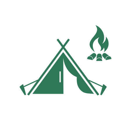 stretch: Stylized icon of tourist tent. Vector illustration