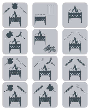 roaster: Brazier coocking icons set. Vector illustration