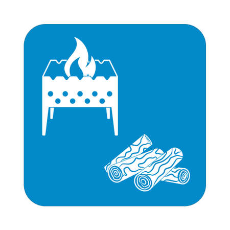 firewood: Brazier and firewood icon. Vector illustration