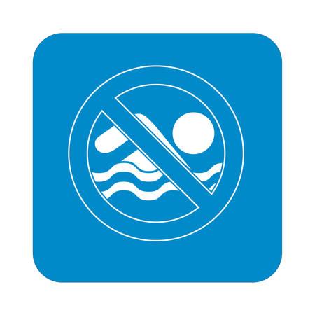 no swimming: No swimming prohibition sign icon. Vector illustration