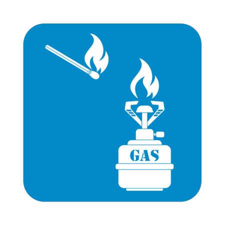travel burner: Camping stove icon vector. Vector illustration.