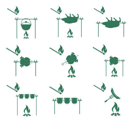 roaster: Set of barbecue icons. Vector