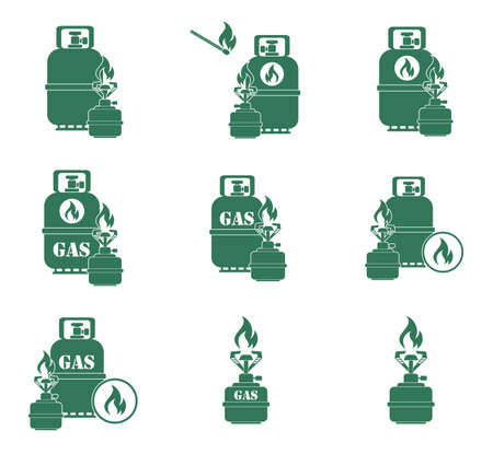 gas bottle: Set of camping stove and gas bottle icons. Vector illustration.
