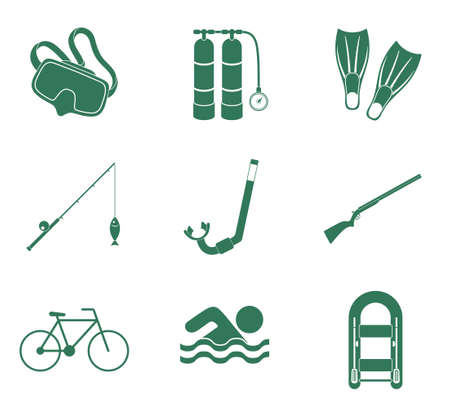 recreation: Sport and recreation icons set. Vector illustration Illustration