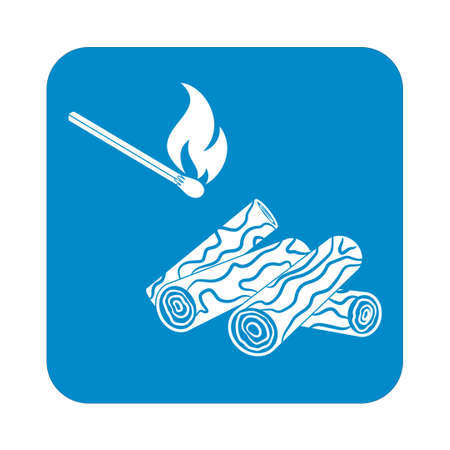 roaster: Firewood and matches icon. Vector illustration