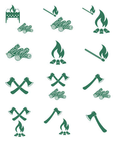 rebuilding: Set of campfire, ax and firewood icons. Vector illustration