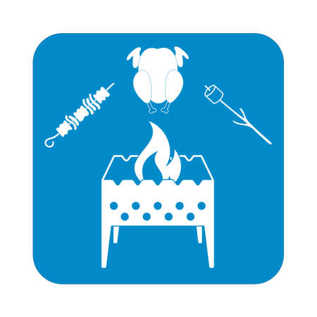outing: Brazier zephyr, kebab and chicken icon. Vector illustration