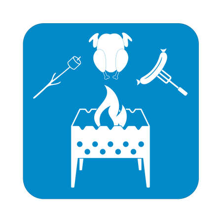 Brazier, zephyr, chicen, and sausage icon. Vector illustration Illustration