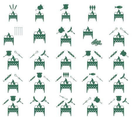 coocing: Set of coocing on brazier icons. Vector illustration