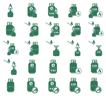 travel burner: Set of camping stove and gas bottle icon vector. Vector illustration.