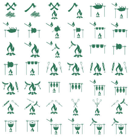 coocing: Set of coocing on campfire icons. Vector illustration Illustration