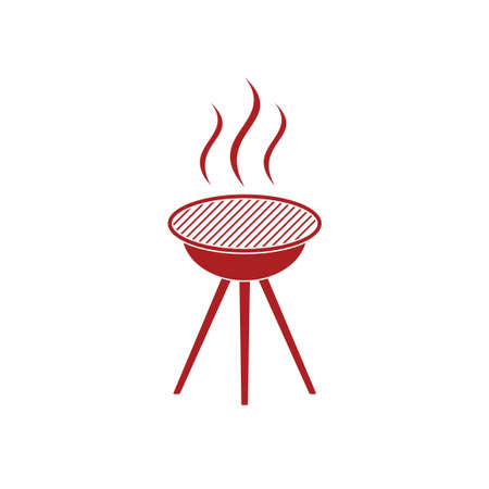 chafing dish: Barbecue grill icon. Vector illustration