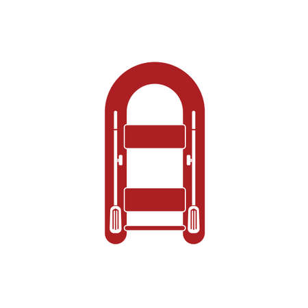 oars: Inflatable boat with oars simple icon isolated