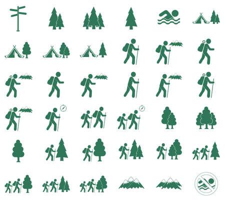 haversack: Set of Hiking tourists icon. Vector illustration