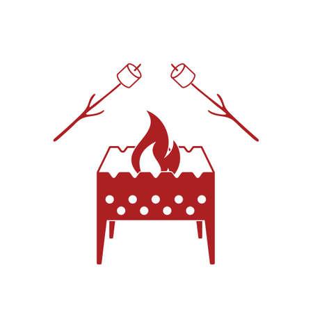 brazier: Brazier and zephyr icon. Vector illustration