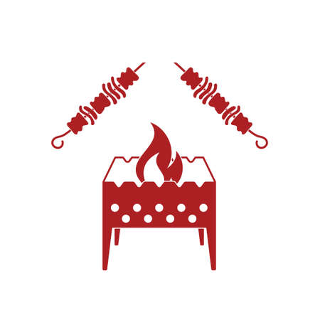 brazier: Brazier grill with kebab icon. Vector illustration
