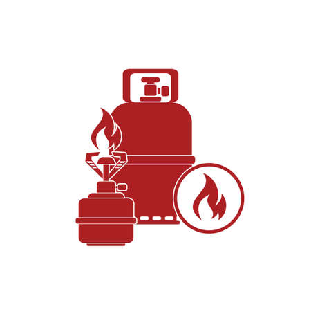 travel burner: Camping stove with gas bottle icon vector. Vector illustration. Illustration
