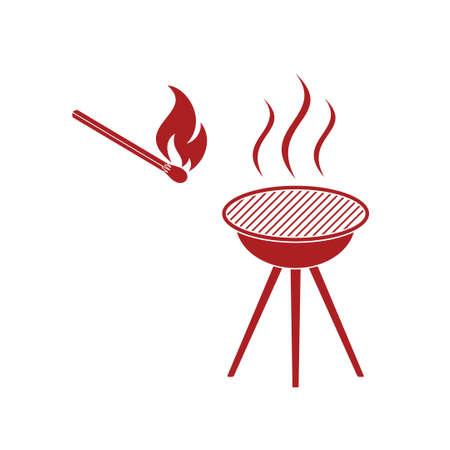 kabob: The barbecue icon. Flat Vector illustration