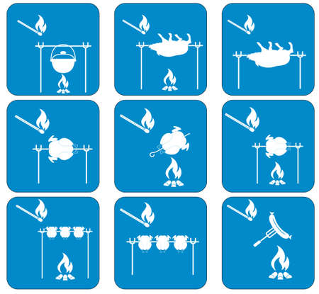 chafing dish: Set of barbecue icons. Vector illustration