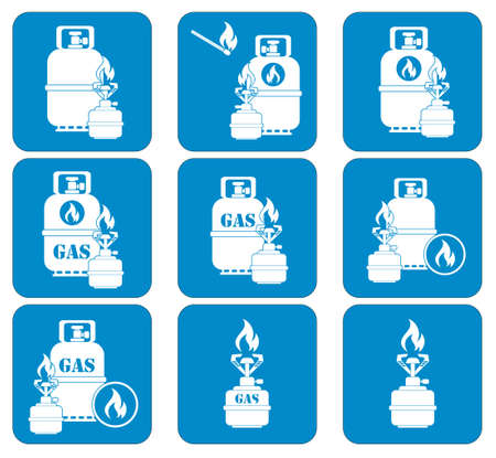 travel burner: Set of camping stove and gas bottle icons. Vector illustration.