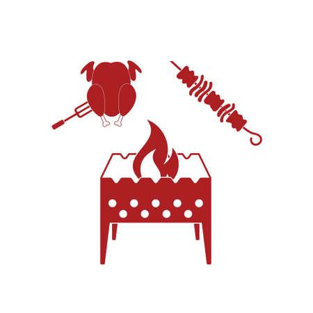 brazier: Brazier kebab and chicken icon. Vector illustration