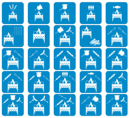 Set of coocing on brazier icons. Vector illustration Illustration