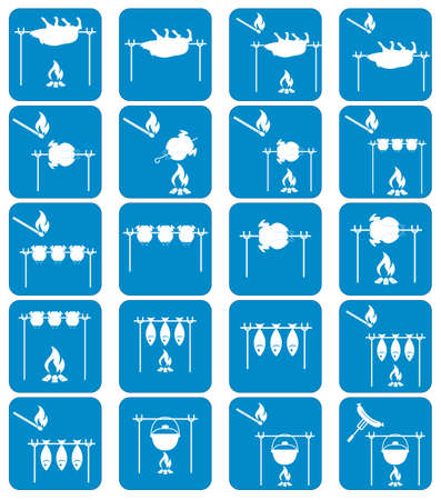 roaster: Set of barbecue grilll with boar and chicken icons. Vector illustration