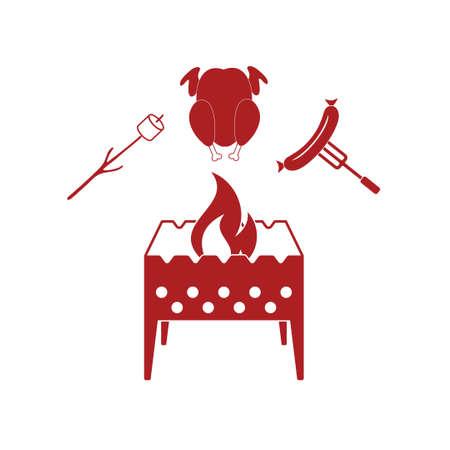 brazier: Brazier, zephyr, chicen, and sausage icon. Vector illustration Illustration