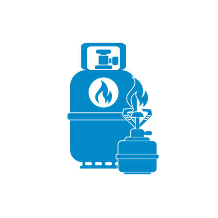 travel burner: Camping stove with gas bottle icon. Flat icon. Vector illustration Illustration