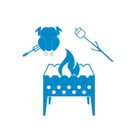 roaster: Brazier, zephyr and chicken icon. Vector illustration