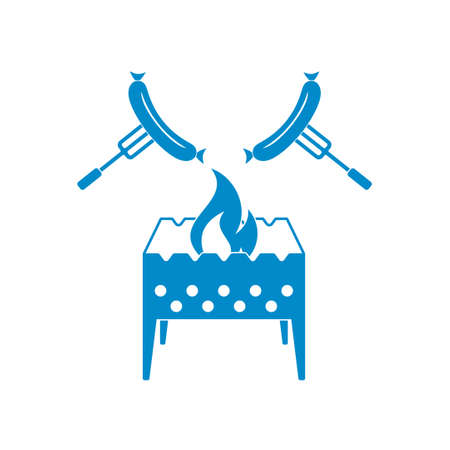 brazier: Brazier and sausage icon. Vector illustration