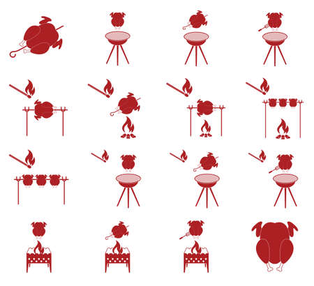 fried chicken wings: Grilled chicken icons set. Vector illustration Illustration