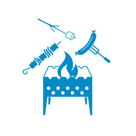 brazier: Brazier, zephyr, kebab and sausage icon. Vector illustration
