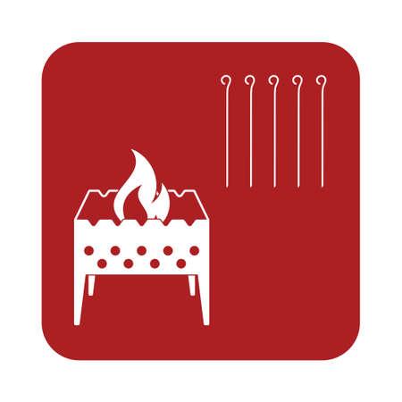 woodpile: Brazier icon. Vector illustration