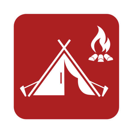 weekend activities: Stylized icon of tourist tent. Vector illustration