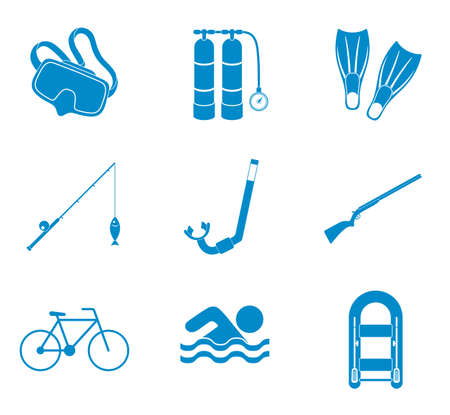 recreation: Sport and recreation icons set. Vector