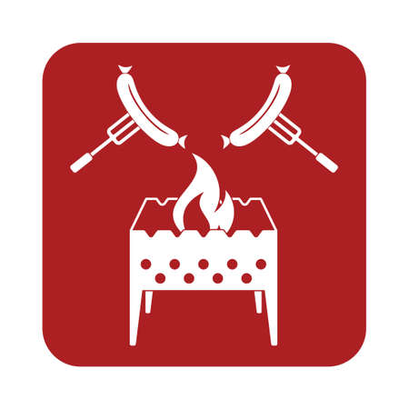 roaster: Brazier and sausage icon. Vector illustration
