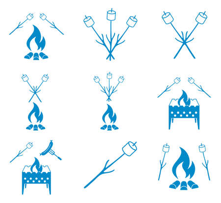 brazier: Brazier, zephyr and sausage icons set. Vector illustration