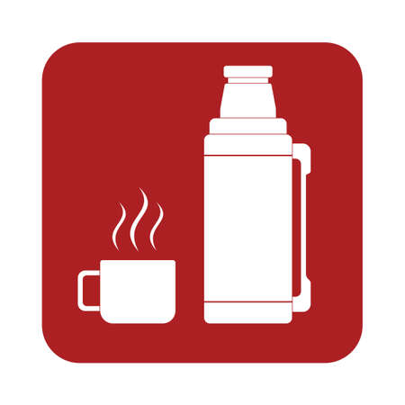 insulated drink container: flask container icon, camping and hiking equipment. Vector illustration Illustration