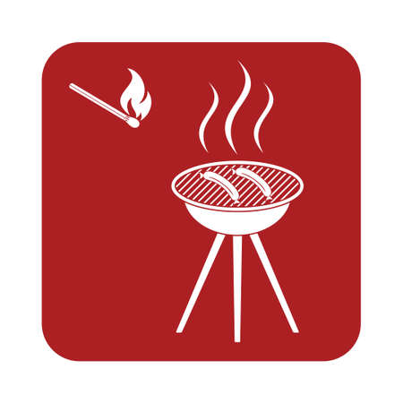 roaster: Barbecue sausage icon. Vector illustration.