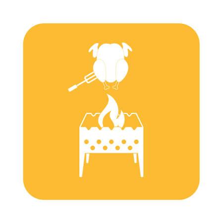 brazier: Brazier and chicken icon. Vector illustration Illustration