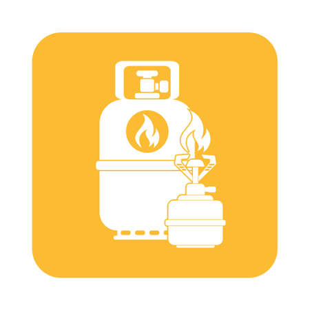 Camping stove with gas bottle icon. Flat icon isolated. Vector illustration Illustration