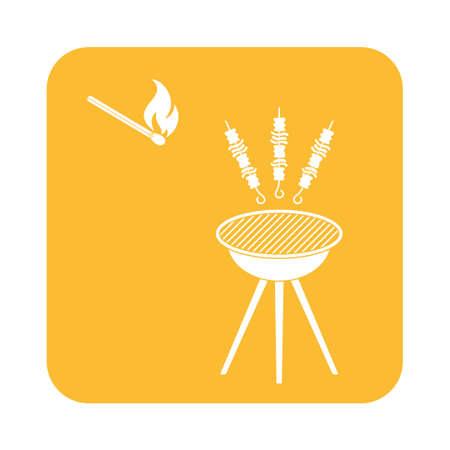 Grilled kebab icon. Vector illustration Illustration